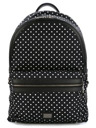 Dolce And Gabbana Polka Dot Print Backpack Black