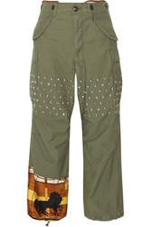 Junya Watanabe Printed Satin Paneled Studded Cotton Blend Wide Leg Pants Army Green