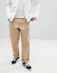 Calvin Klein Jeans Chinos With Back Logo Patch Peach Dyed Canvas Beige