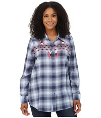 Roper Plus Size 9900 Ombre Plaid Shirt Blue Women's Clothing