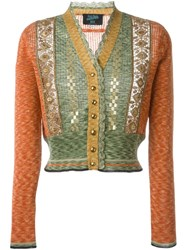 Jean Paul Gaultier Vintage Lace Panel Cardigan Yellow And Orange