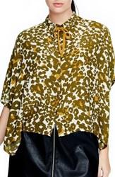 Elvi Plus Size Women's Animal Print Tie Neck Shirt