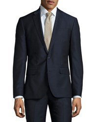 Neiman Marcus Slim Fit Two Piece Wool Suit Navy