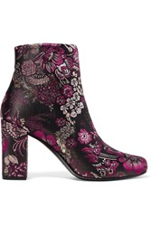 Saint Laurent Babies Brocade Ankle Boots Purple