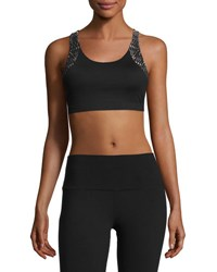 Alo Yoga Patina Laser Cut Sports Bra Black Pattern