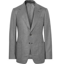 Tom Ford Grey Shelton Slim Fit Silk And Cashmere Blend Blazer Gray