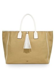 Melissa Odabash Leather Trim Canvas Tote