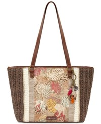 Sakroots Meadow Straw Tote Tan Wildlife Gold