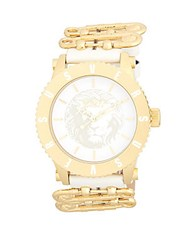 Versus By Versace Stainless Steel Leather Strap Analog Strap Yellow Gold