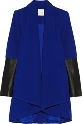 Mason By Michelle Mason Leather Paneled Wool Blend Coat Blue