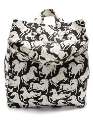 Stella Mccartney Horse Pattern Cotton Canvas Beach Bag Black White