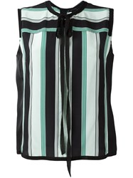 Marc Jacobs Crepe De Chine Striped Top Green