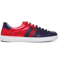 Gucci New Ace Metallic Snakeskin Leather Trainers Red Comb