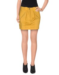 Gold Case Skirts Mini Skirts Women Ocher