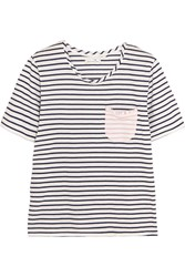 Chinti And Parker Striped Cotton Jersey T Shirt Ivory Midnight Blue