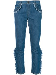 Boutique Moschino Frayed Ruffle Trim Jeans Blue