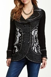 Vintage Concept Ribbed Double Breasted Cardigan Black