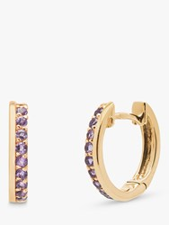 A B Davis 9Ct Gold Amethyst Hoop Earrings Gold Purple