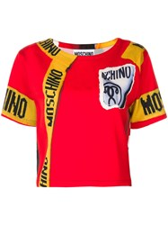 Moschino Logo T Shirt With Graphic Print Viscose Other Fibres Virgin Wool Red