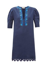 Zeus Dione Sitia Floral Embroidered Linen Mini Dress Navy