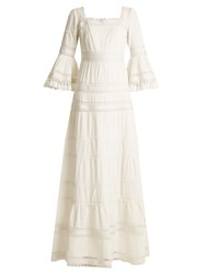 Talitha Fluted Sleeve Pleated Cotton Maxi Dress Ivory