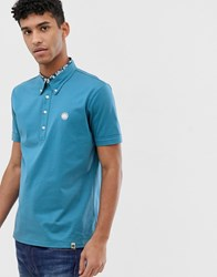 Pretty Green Mercerised Cotton Polo With Floral Insert In Blue