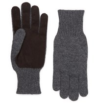 Brunello Cucinelli Suede Panelled Cashmere Gloves Gray