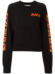 Off White Graphic Print Sweatshirt Women Cotton S Black