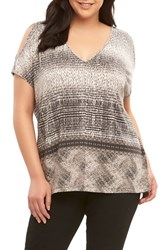 Tart Plus Size Women's Rocky Cold Shoulder Top Printed Gradient