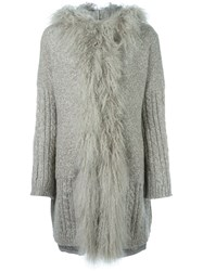 Twin Set Fur Trimmed Knitted Coat Nude And Neutrals