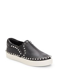 Ash Idyle Spiked Leather Slip On Sneakers Black