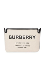 Burberry Medium Horseferry Print Canvas Clutch Neutrals