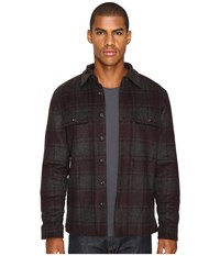 Vince Plaid Military Jacket Heather Charcoal Oxblood