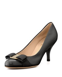 Salvatore Ferragamo Carla Patent Bow Pump Black Nero