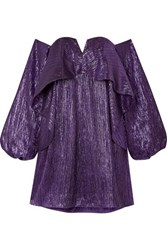 Halpern Off The Shoulder Ruffled Lurex Mini Dress Purple