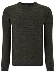 John Lewis Made In Italy Merino Cashmere Stripe Crew Neck Jumper Olive Charcoal