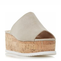 Head Over Heels Kezzia Cork Effect Flatform Mule Sandal Grey