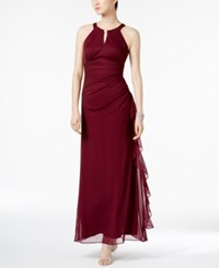 Betsy And Adam Ruched Halter Gown Garnet