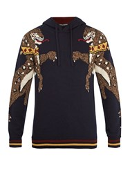 Dolce And Gabbana Animal Intarsia Hooded Wool Sweater Navy
