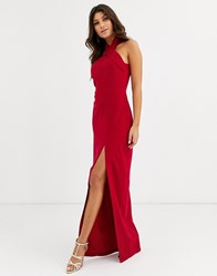 Vesper High Neck Maxi Dress With Thigh Split In Red