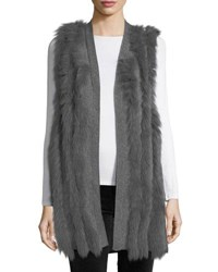 Neiman Marcus Luxury Cashmere Vest W Fox Fur Stripes Heather Grey