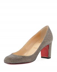 Christian Louboutin Cadrilla Glitter Block Heel Red Sole Pump Silver