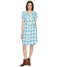 Stetson 0901 Rayon Twill Plaid Western Shirtdress Blue Women's Dress
