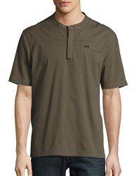 Laboratory Lt Man Button Front Henley Tee Army