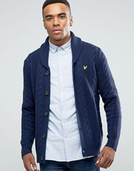 Lyle And Scott Cable Knit Shawl Cardigan Lambswool In Navy Navy