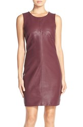 Women's Tart 'Elyse' Faux Leather And Ponte Sheath Dress Wine