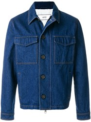 Ami Alexandre Mattiussi Zipped Denim Jacket Blue