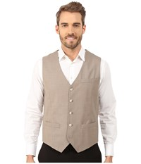 Perry Ellis Solid Texture Suit Vest Natural Linen Men's Vest Beige