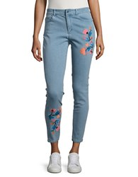 Ivanka Trump Embroidered Floral Skinny Jeans Antique