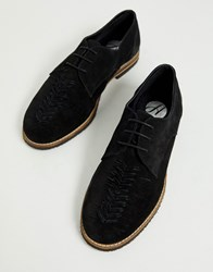 Hudson H By Chatra Woven Lace Up Shoes In Black Suede